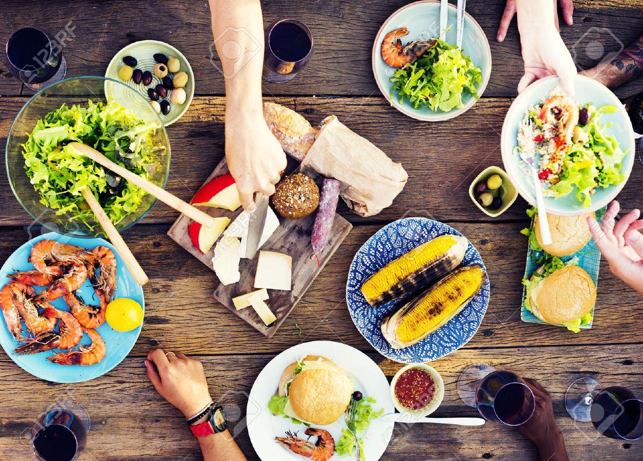 speisen, tisch, feier köstliche party-mahlzeit-konzept lizenzfreie, Esszimmer dekoo