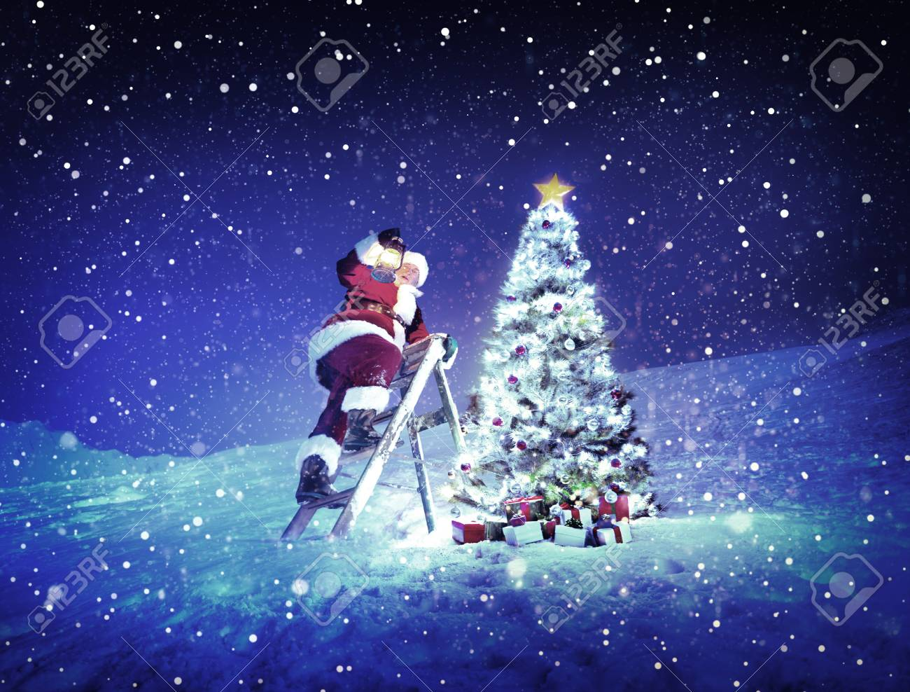 Ladder Christmas Tree.Santa Lamp On A Step Ladder Christmas Tree Concept