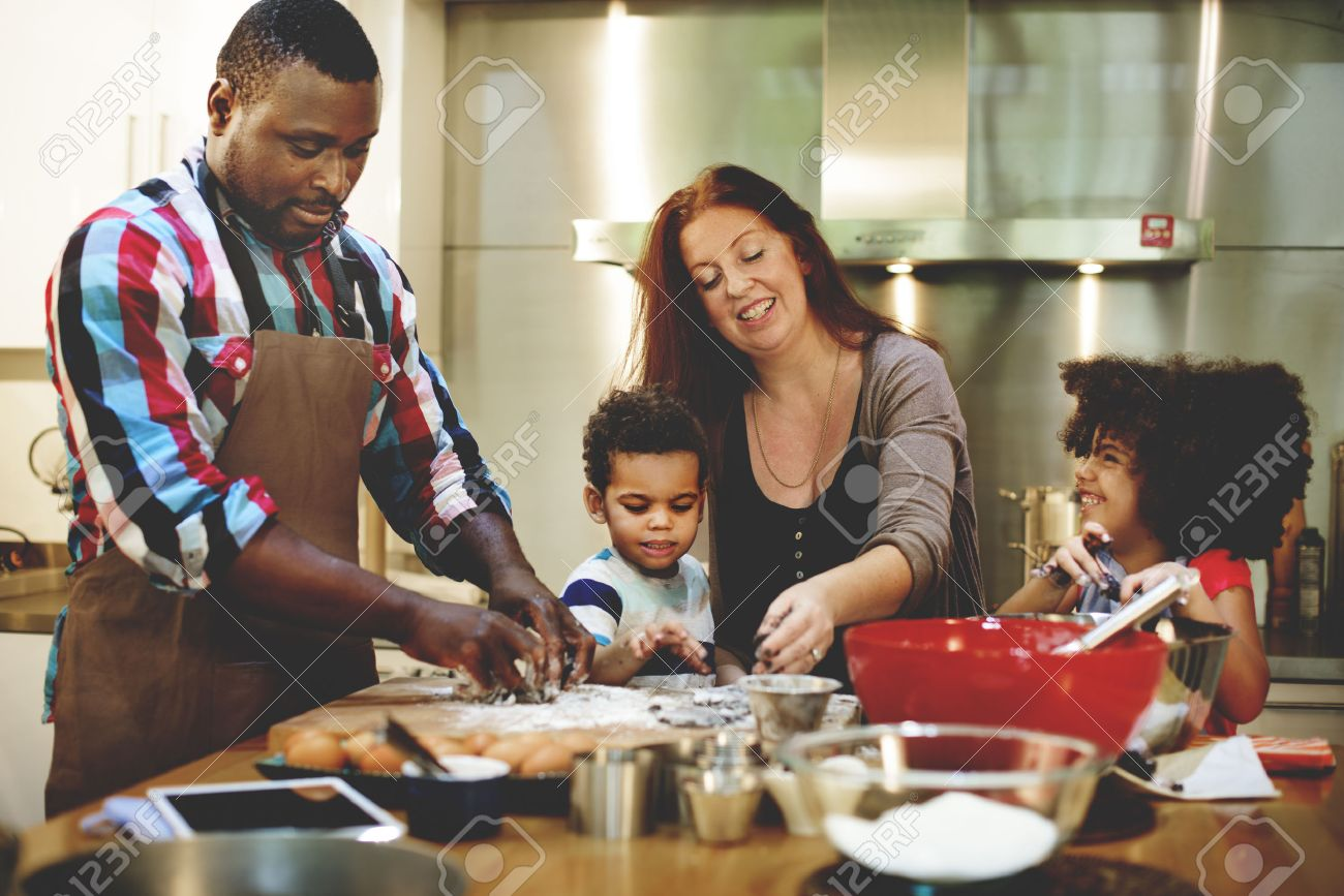 Family cooking kitchen - Family Cooking Kitchen Food Togetherness Concept Stock Photo 49446225