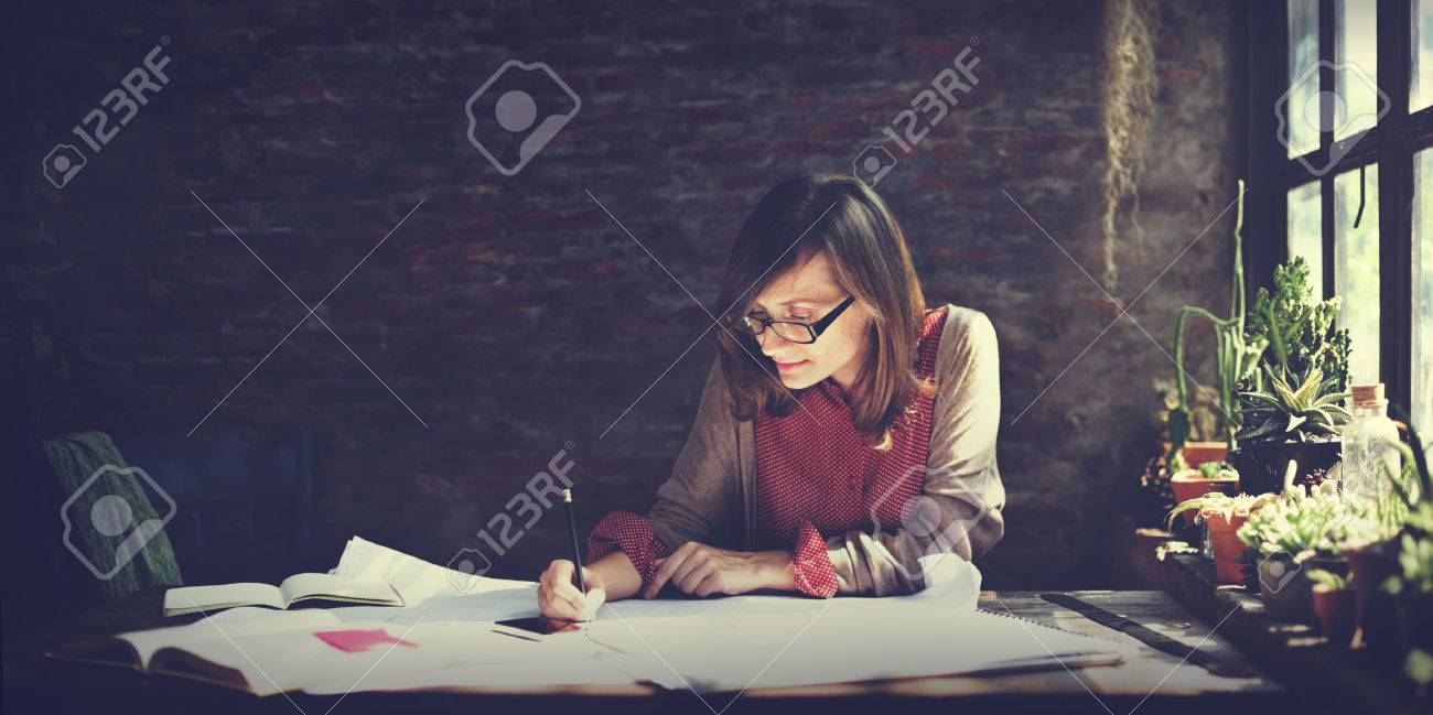 Architecture Woman Working Blue Print Workspace Concept Stock Photo - 51684667