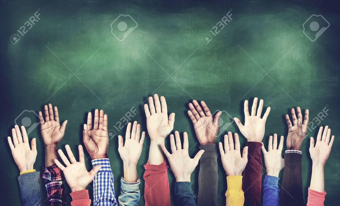 Hands Raised Togetherness Diversity People Concept - 51826487