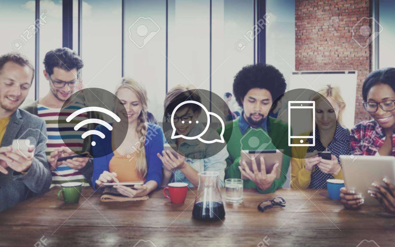Wireless Technology Online Messaging Communication Concept - 51837677