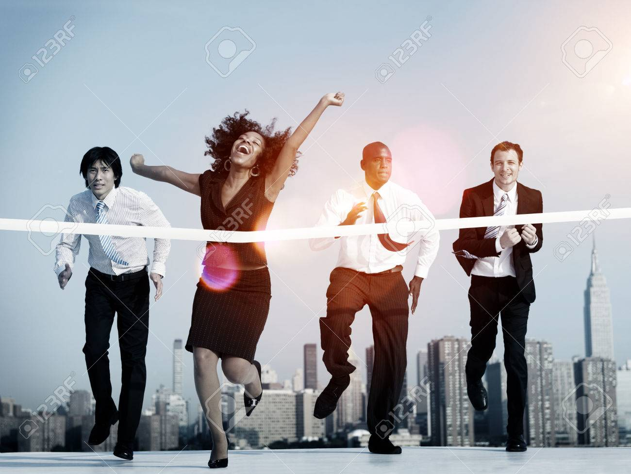 Businesswoman Winning Competition Mission Goal Concept - 51872566