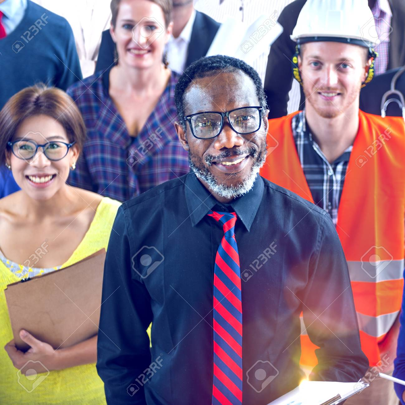 multi ethnic group of people with various occupations concept stock