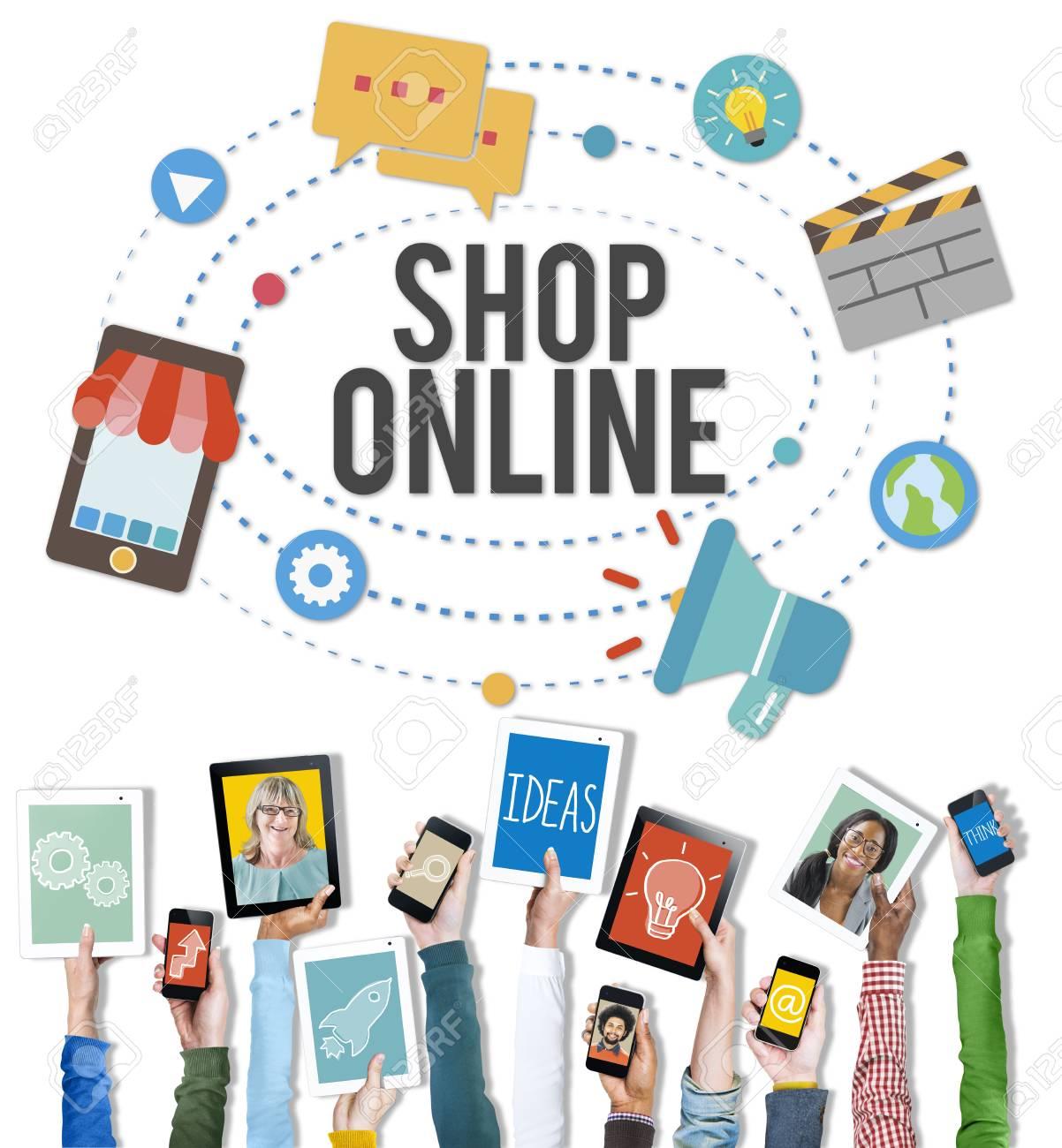 shop online e commerce marketing business concept stock photo