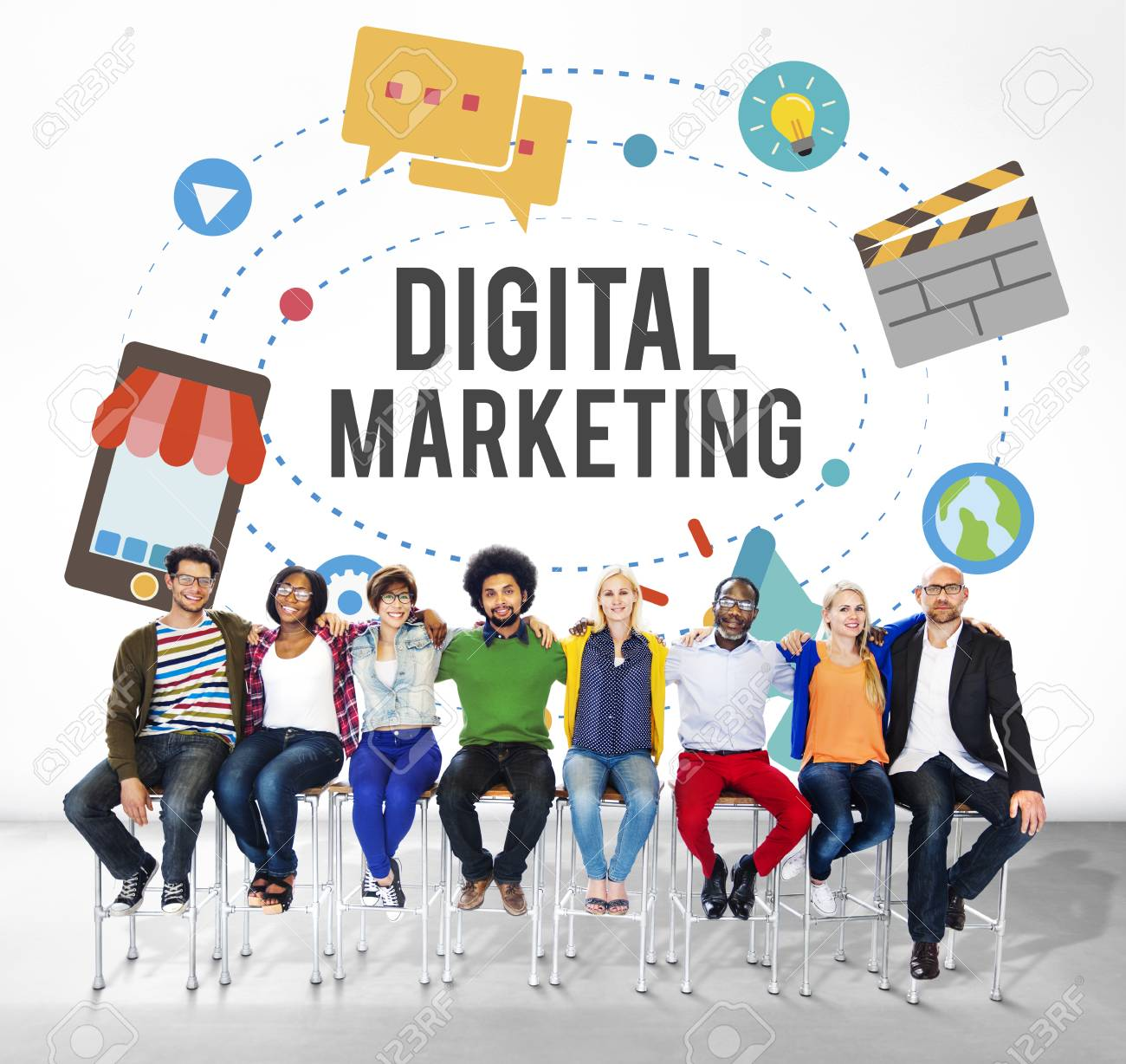 People Sitting With The Word DIGITAL MARKETING Stock Photo, Picture And  Royalty Free Image. Image 109039357.