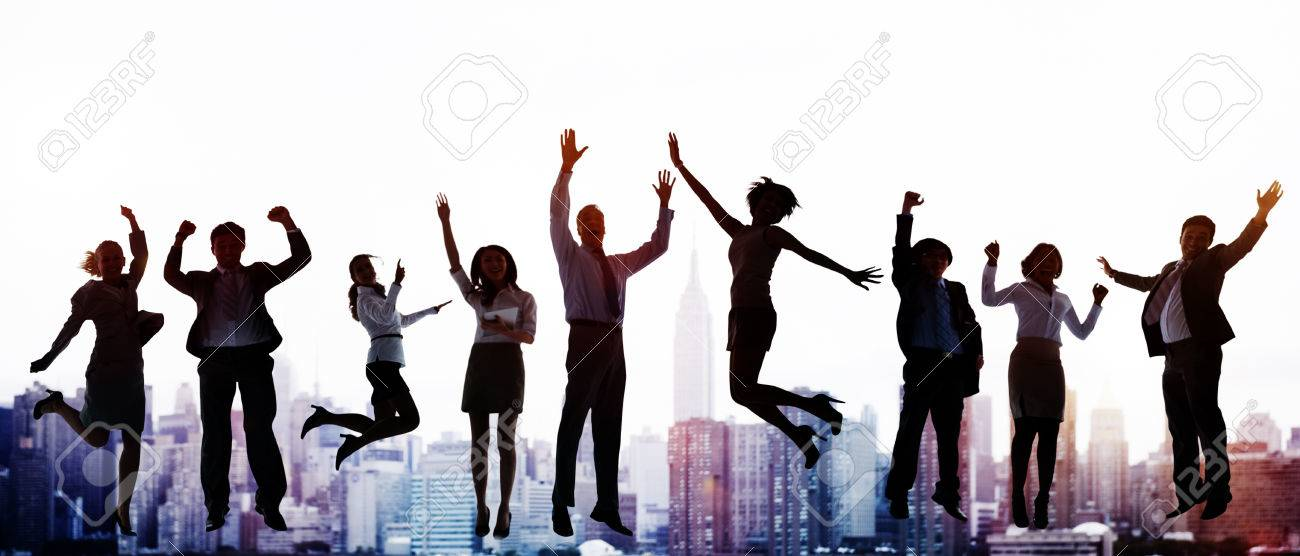 Business People Celebration Success Jumping Ecstatic Concept - 51978852