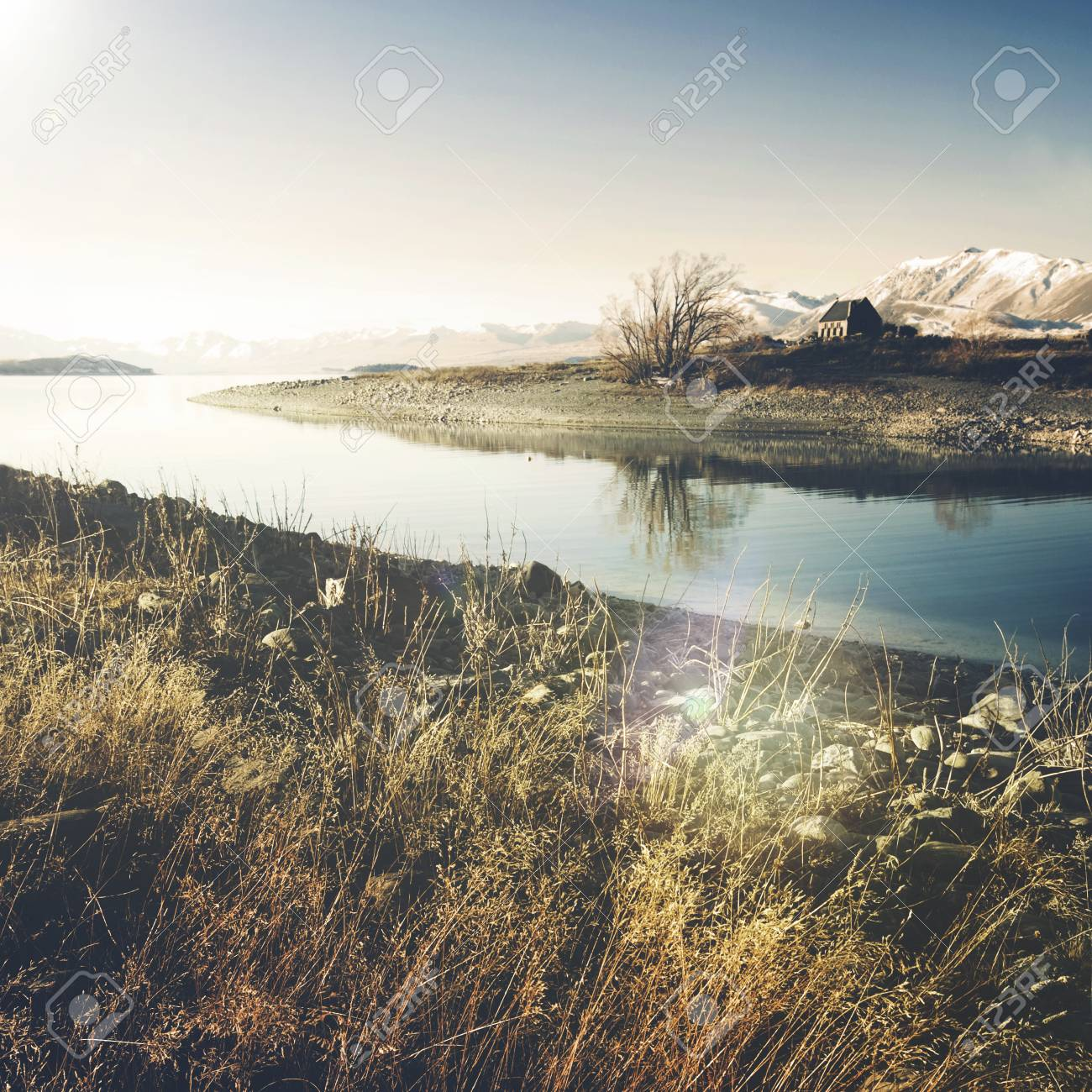 Beautiful Church Panoramic Serene New Zealand Concept