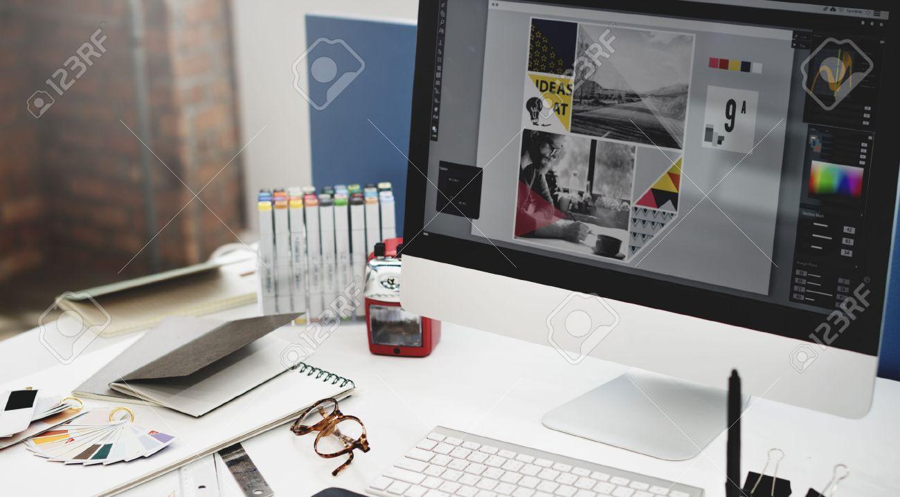 Design Studio Creativity Ideas Wood Palette Decoration Concept - 52371918