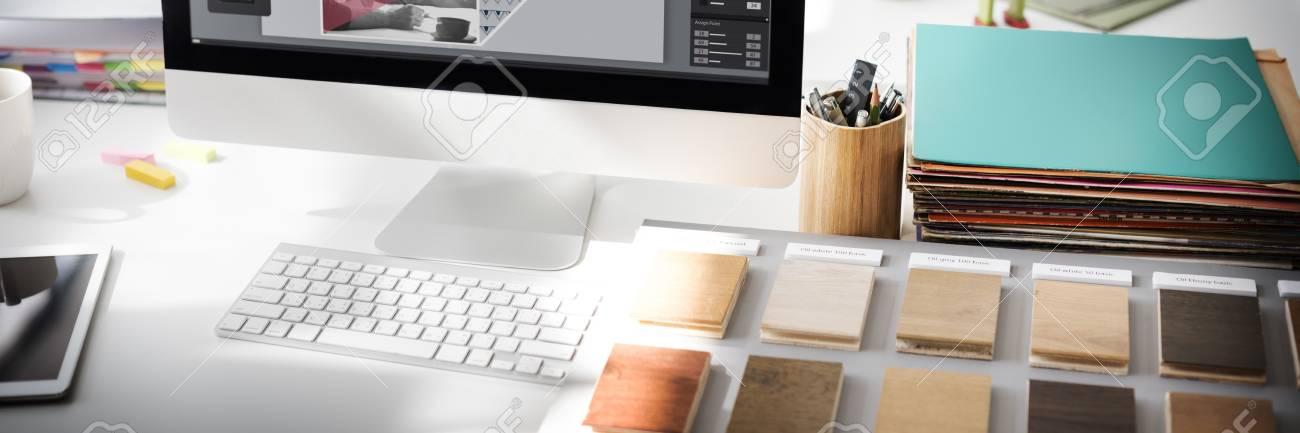 Design Studio Creativity Ideas Wood Palette Decoration Concept - 52371099