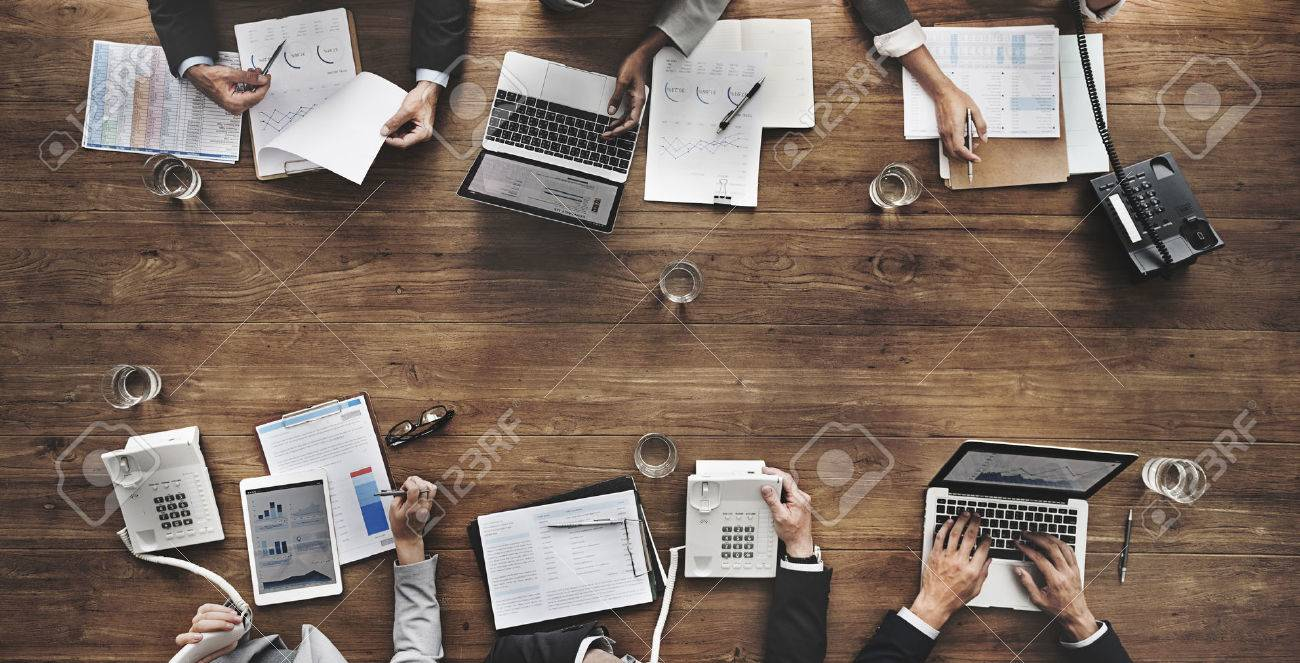 Business People Analyzing Statistics Financial Concept - 52452693