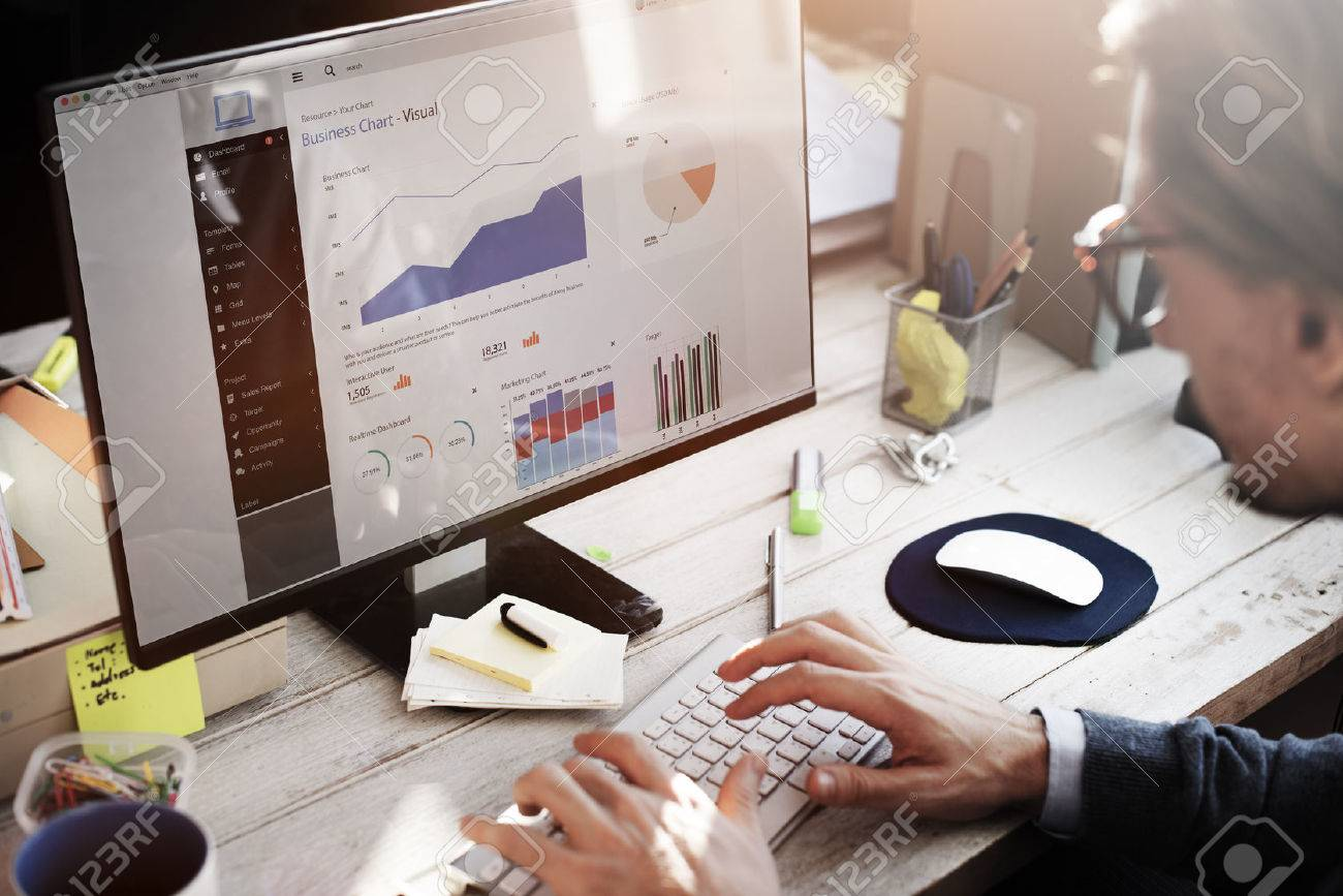 Businessman Working Dashboard Strategy Research Concept - 52453055