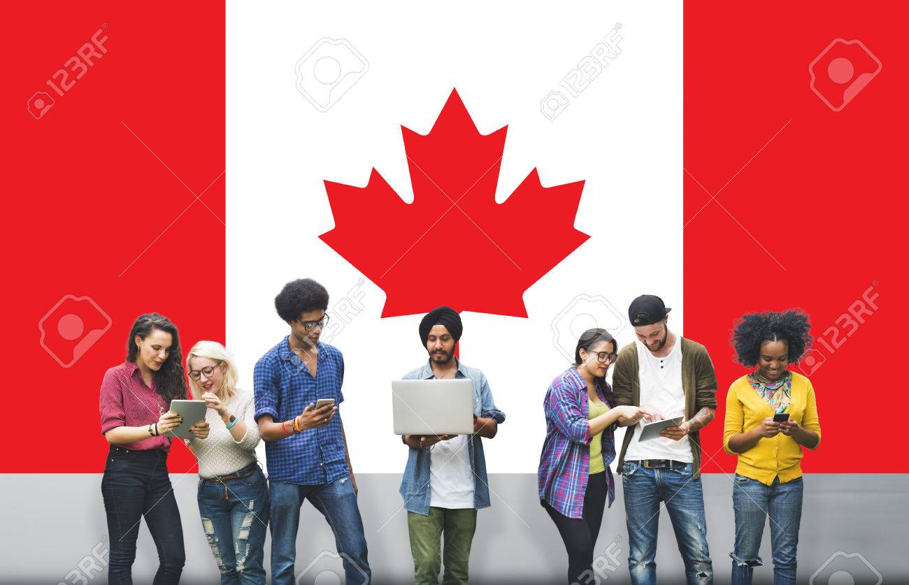 Canada National Flag Studying Diversity Students Concept - 52478399