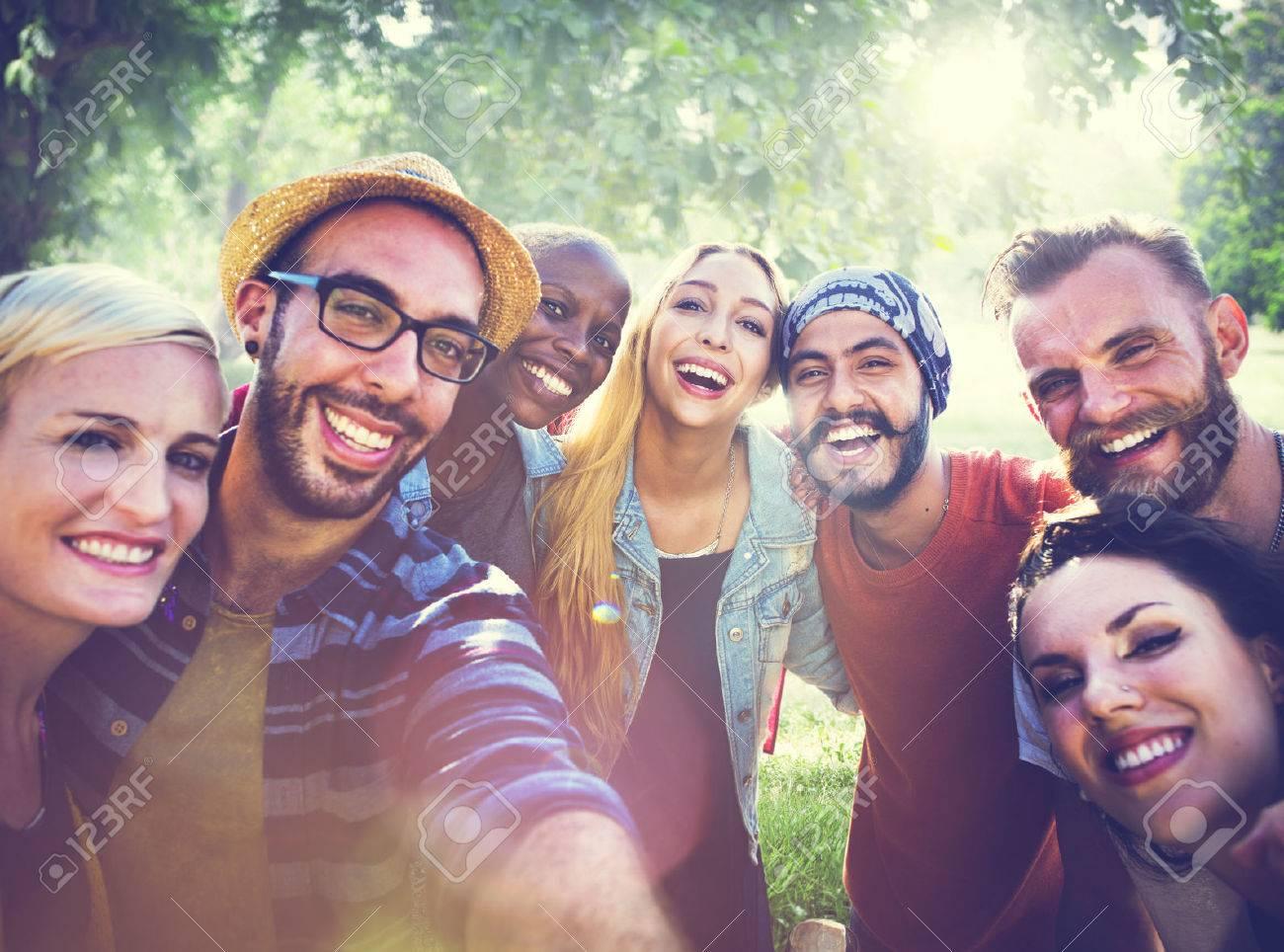 Diverse Summer Friends Fun Bonding Selfie Concept - 53032965