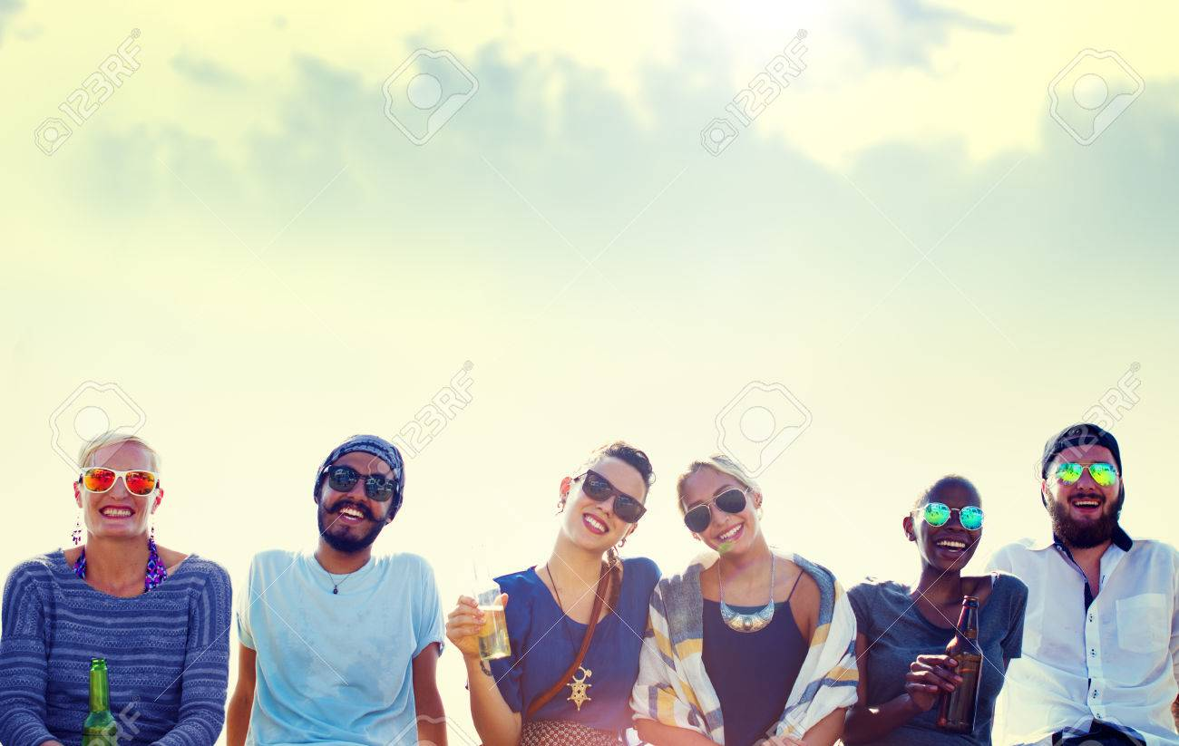 Friends Beach Vacation Party Chilling Concept Stock Photo