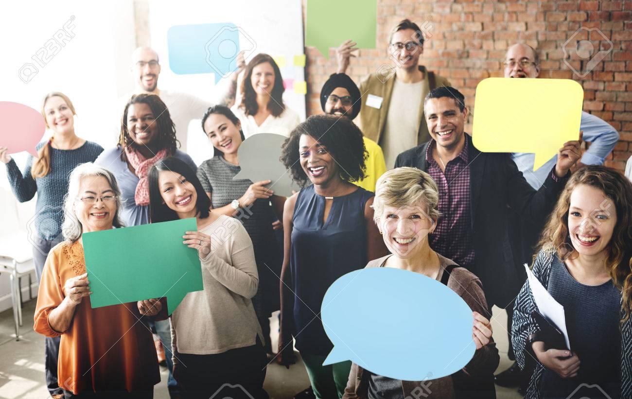 Diverse People Communication Speech Bubble Concept - 53124342