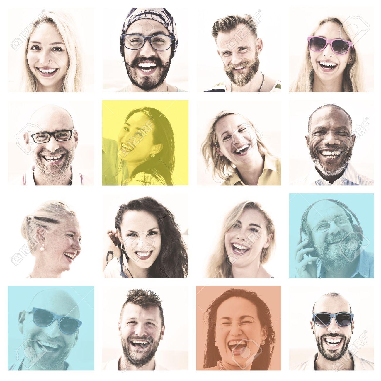 People Set of Faces Diversity Human Face Concept - 53592336