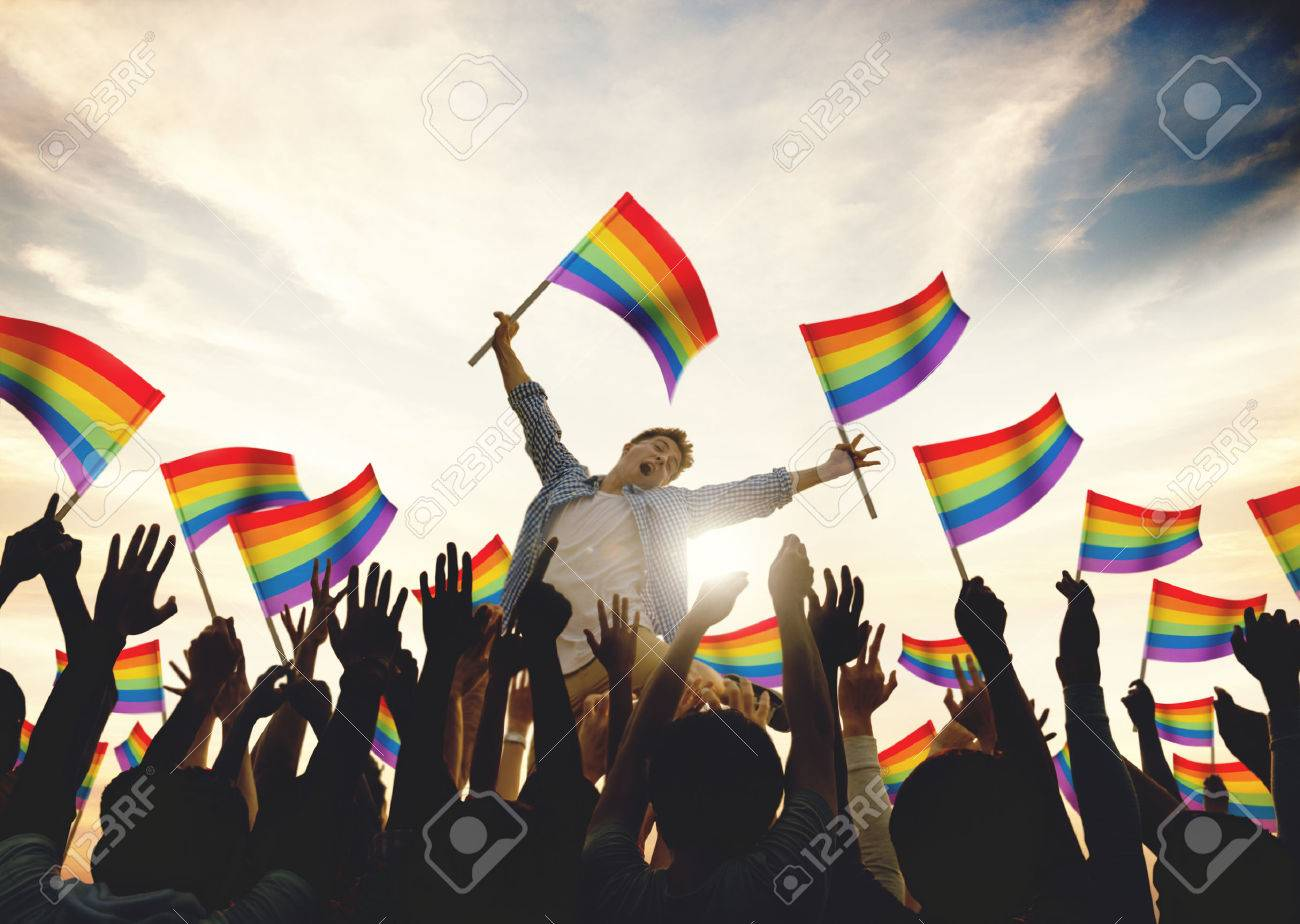 Community Celebration Rainbow Flags Support Concept - 53720136