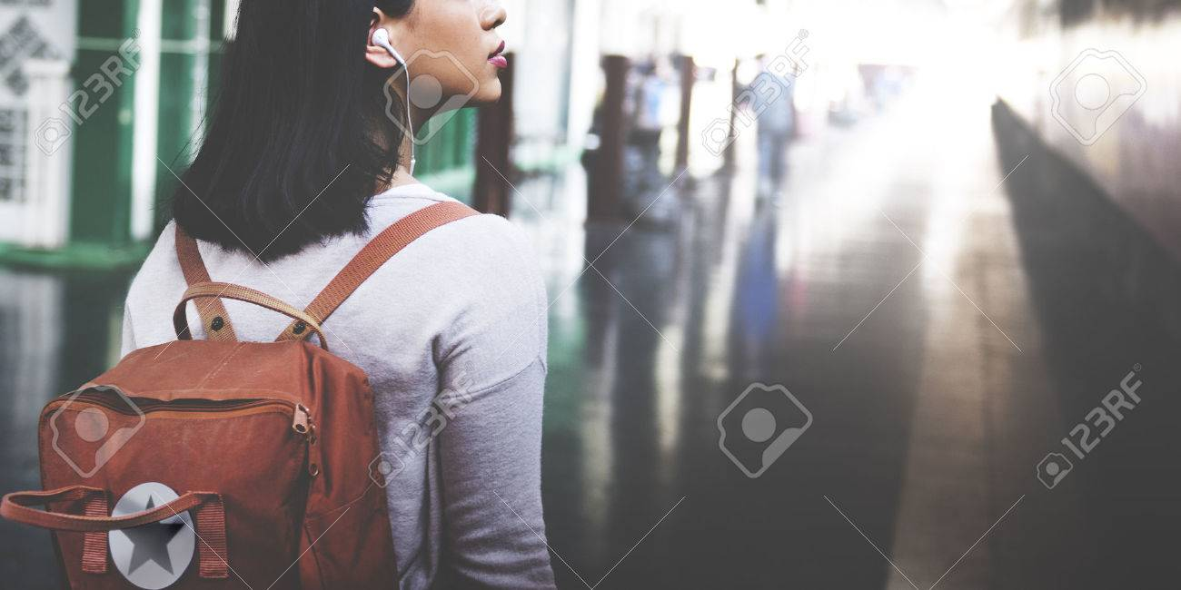 Asian Lady Traveler Backpack City Concept - 53729154
