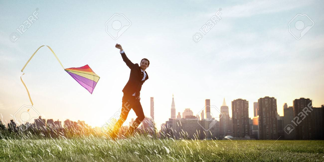 Businessman Playing Kite Lifestyle Relaxation Concept - 53730892