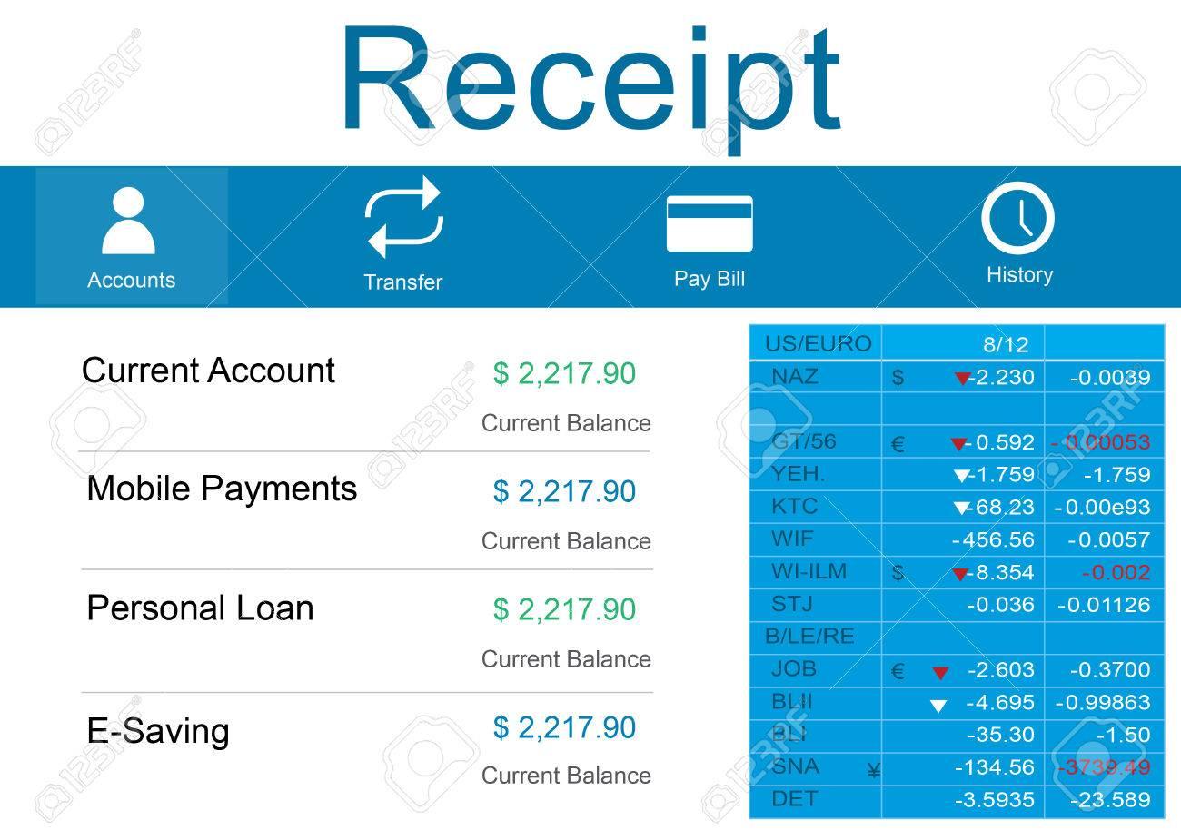 receipt bill slip price record balance paper cashier concept stock photo 53968396