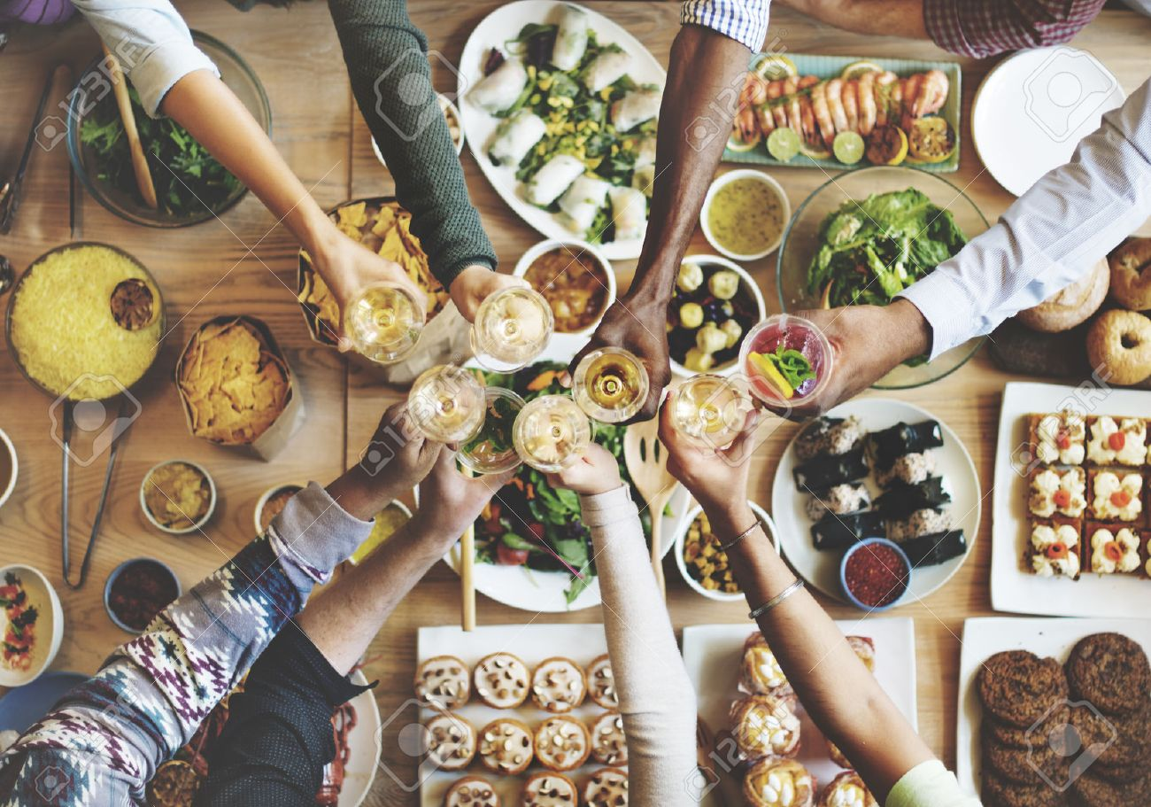 Friends Happiness Enjoying Dinning Eating Concept - 54710749