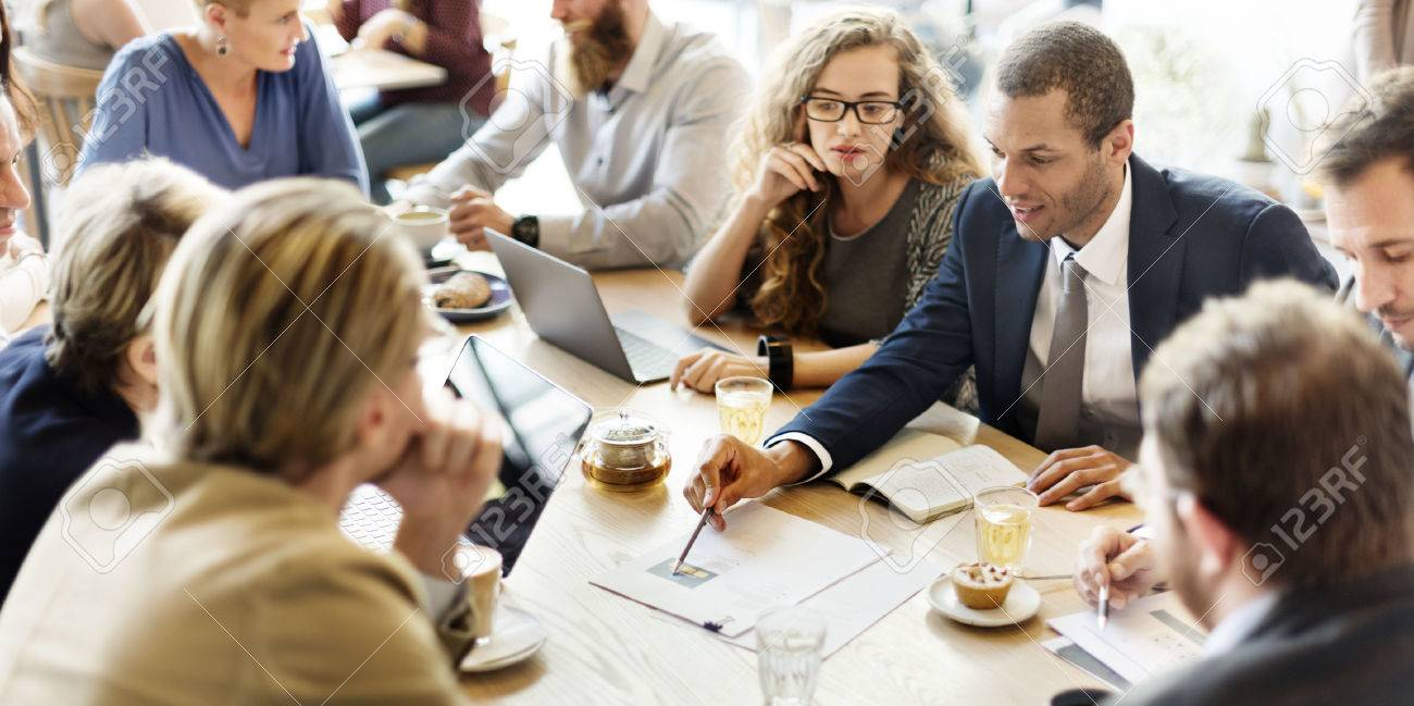 Business Team Meeting Strategy Marketing Cafe Concept - 54687327