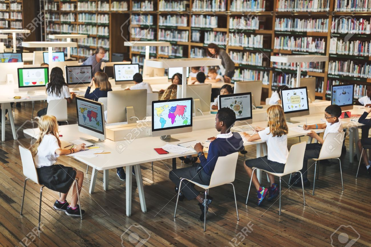 Education School Student Computer Network Technology Concept - 54688016