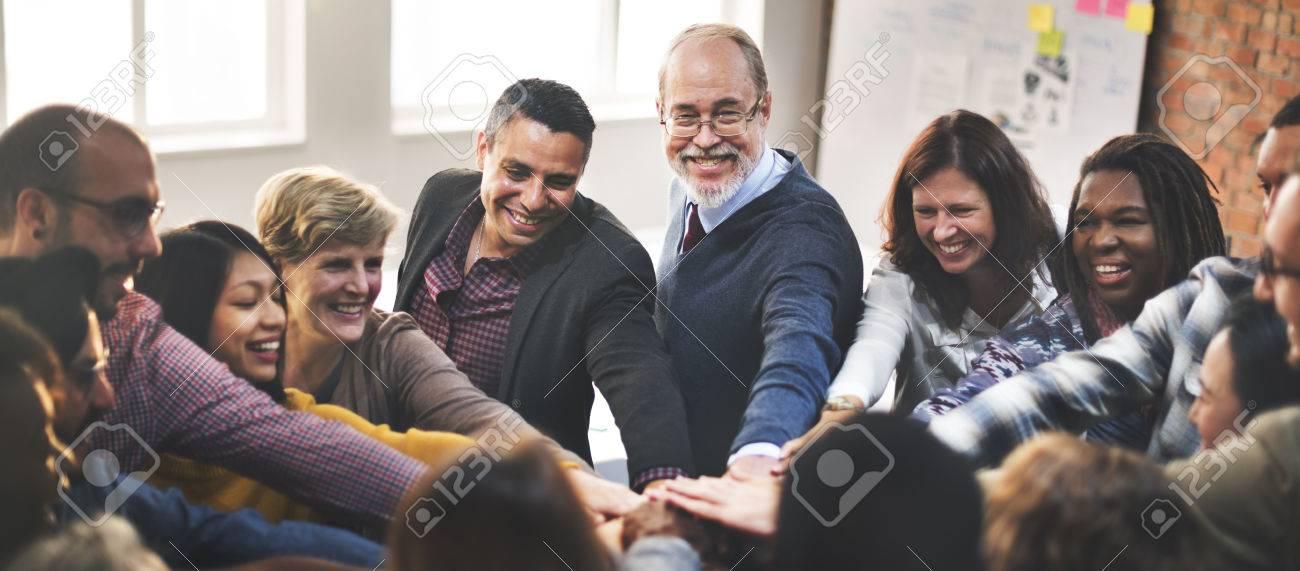 Team Teamwork Join Hands Partnership Concept - 54688105