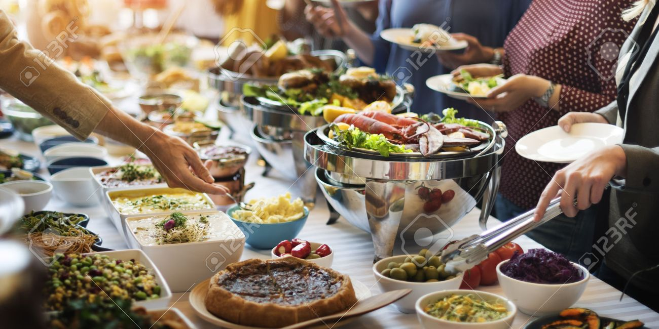 Food Buffet Catering Dining Eating Party Sharing Concept - 54701319