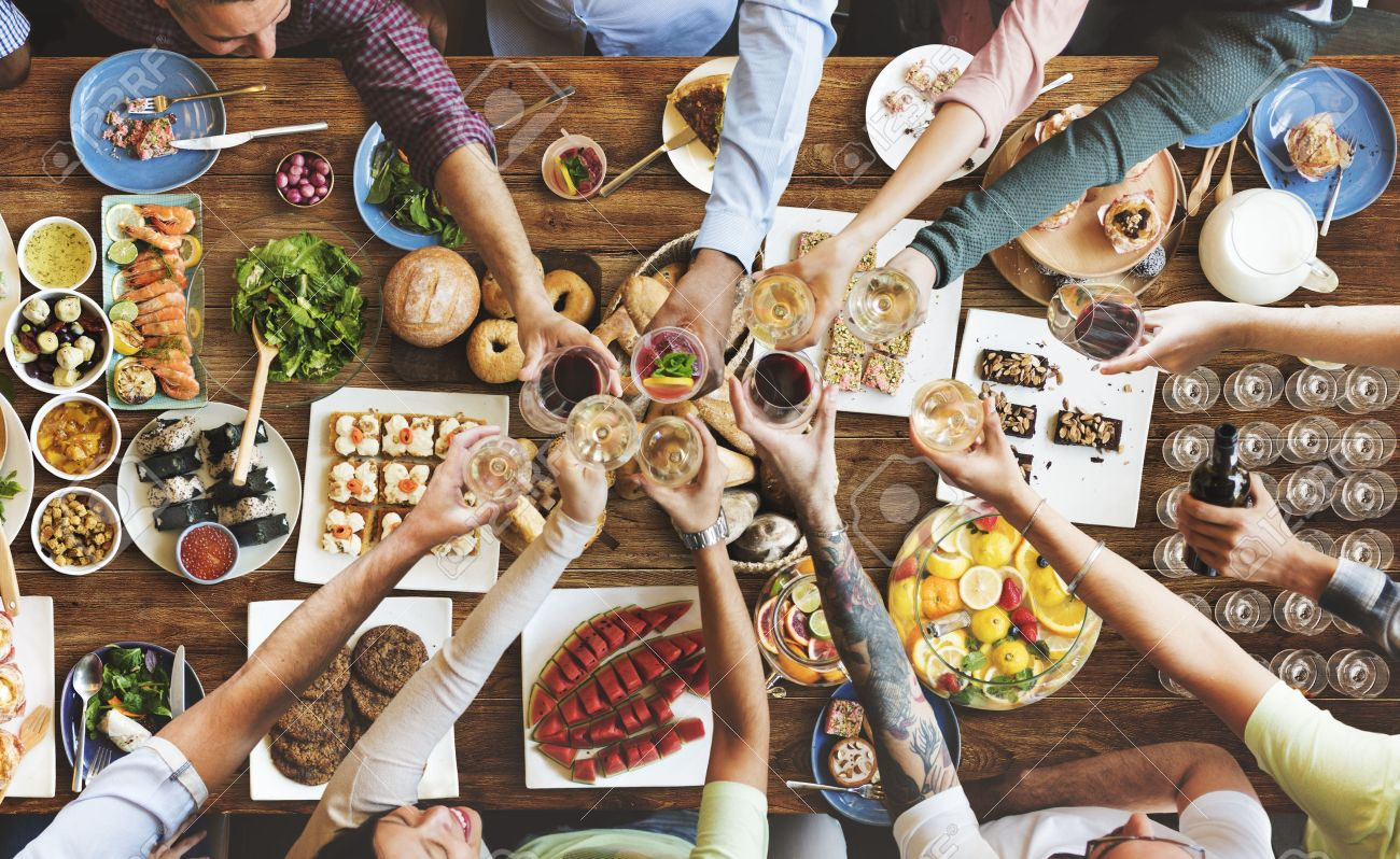 Friends Happiness Enjoying Dinning Eating Concept - 55013318