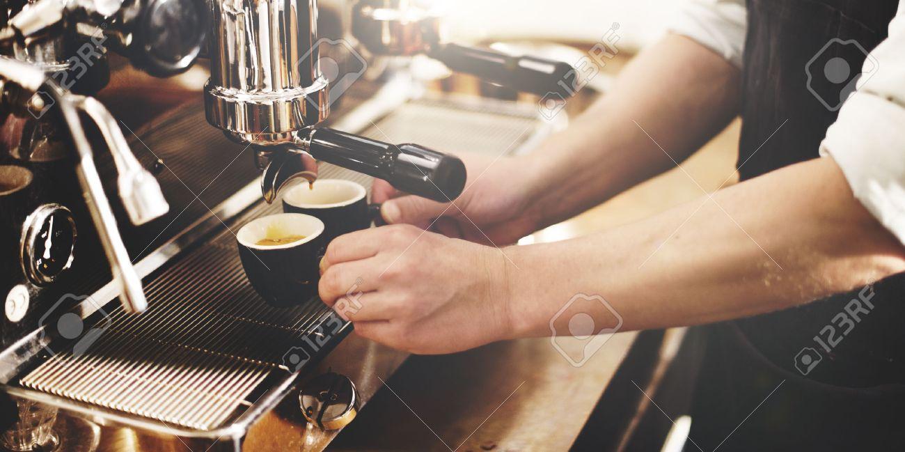 Barista Coffee Maker Machine Grinder Portafilter Concept Archivio Fotografico - 55048372