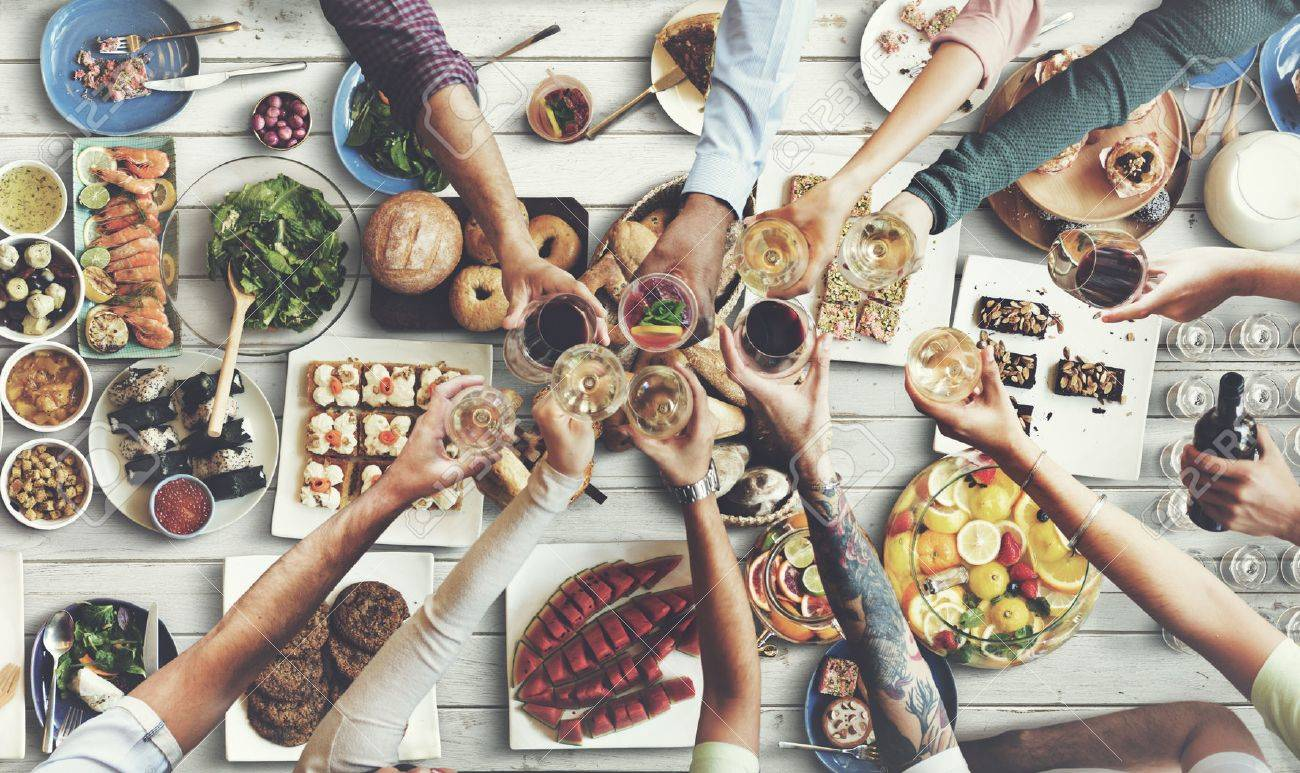 Friends Happiness Enjoying Dinning Eating Concept - 55163480