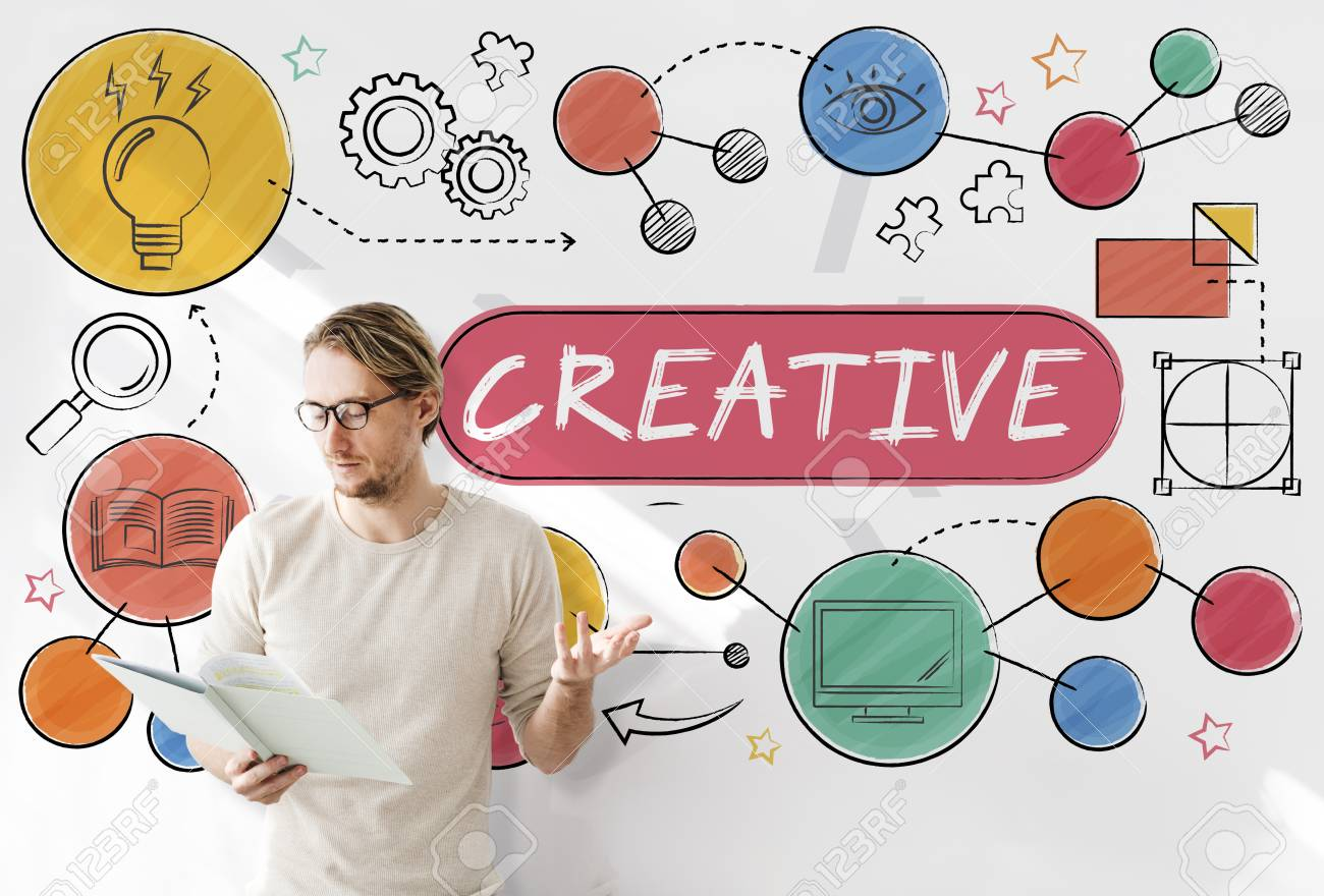 Creative Innovation Ideas Process Drawing Concept Stock Photo