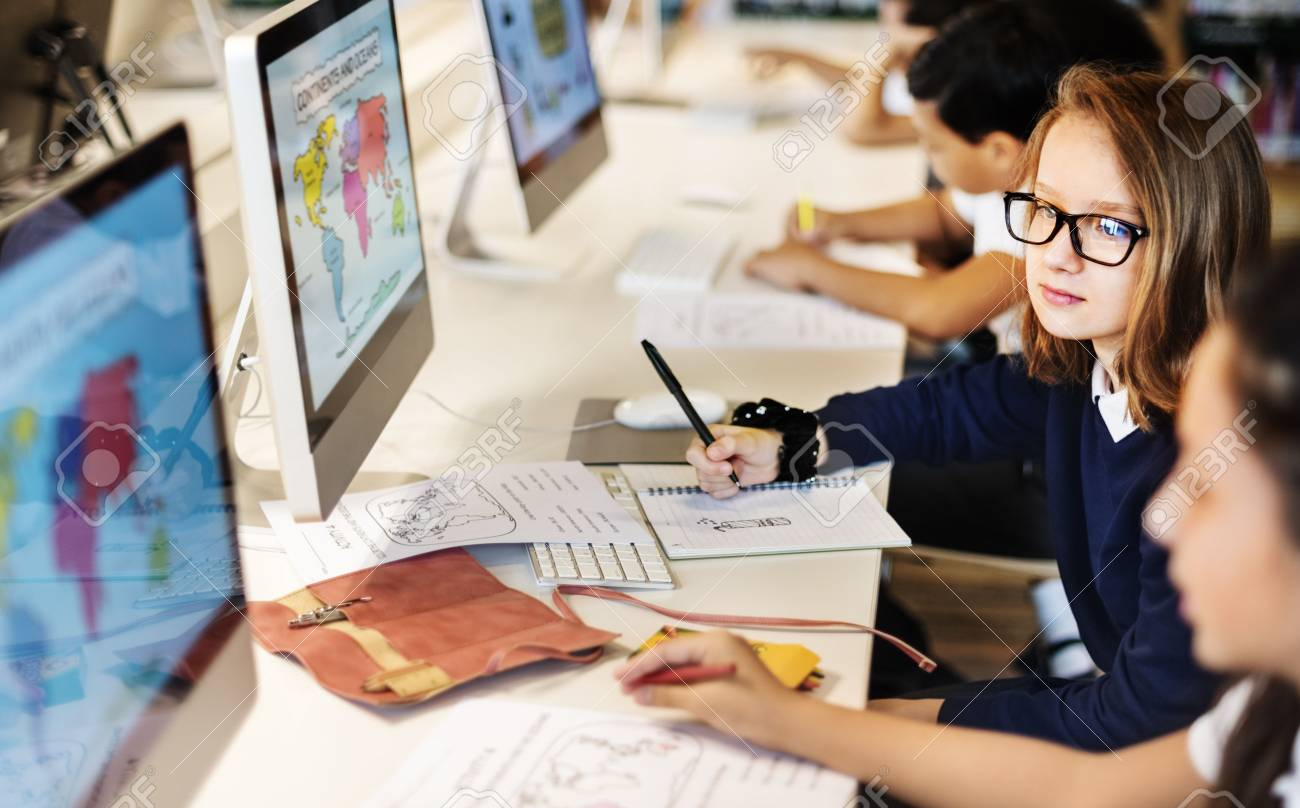 Education School Student Computer Network Technology Concept - 56124028