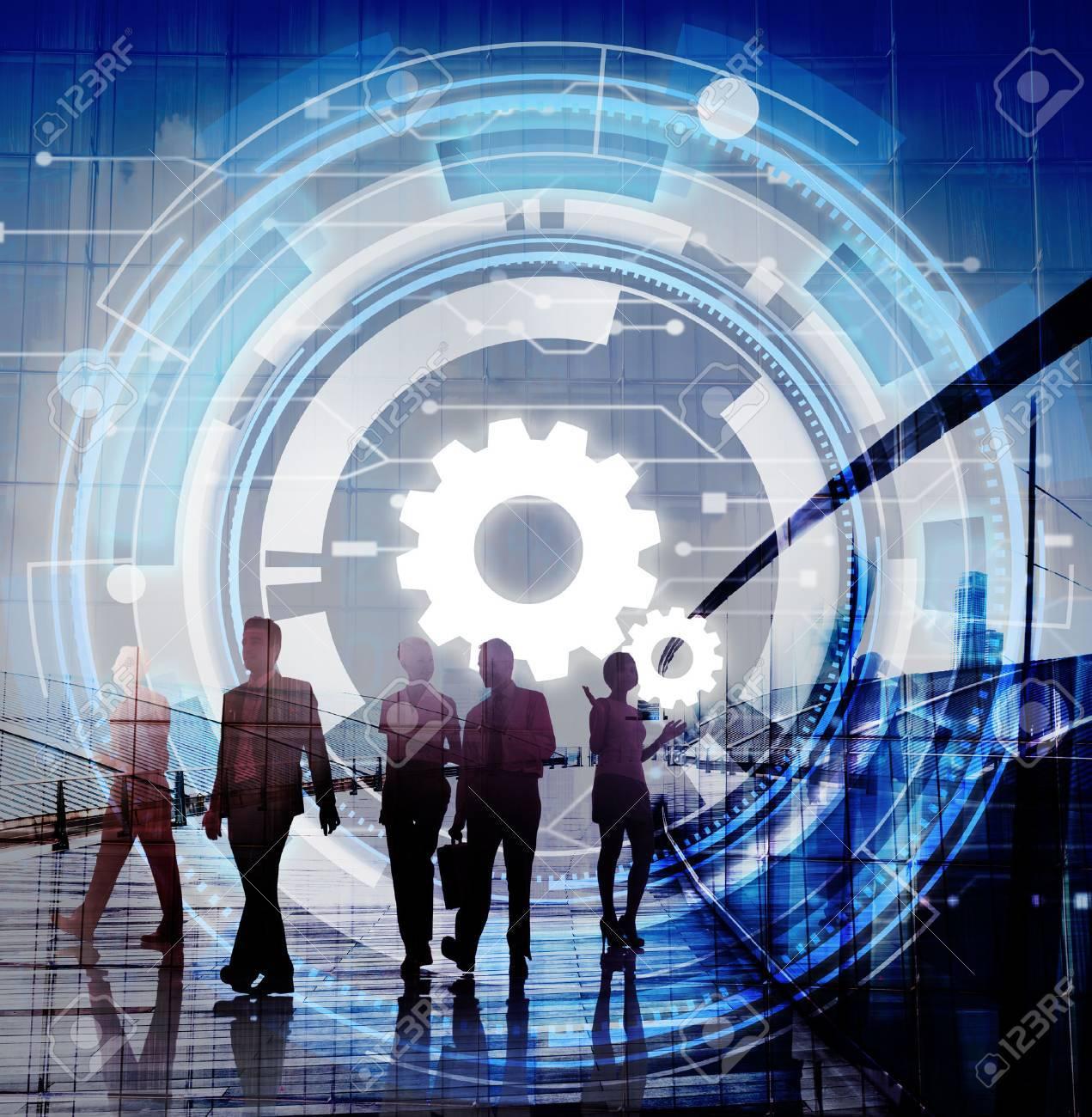 Technologie réseau numérique Cog Travail d'équipe Concept Banque d'images - 58056004