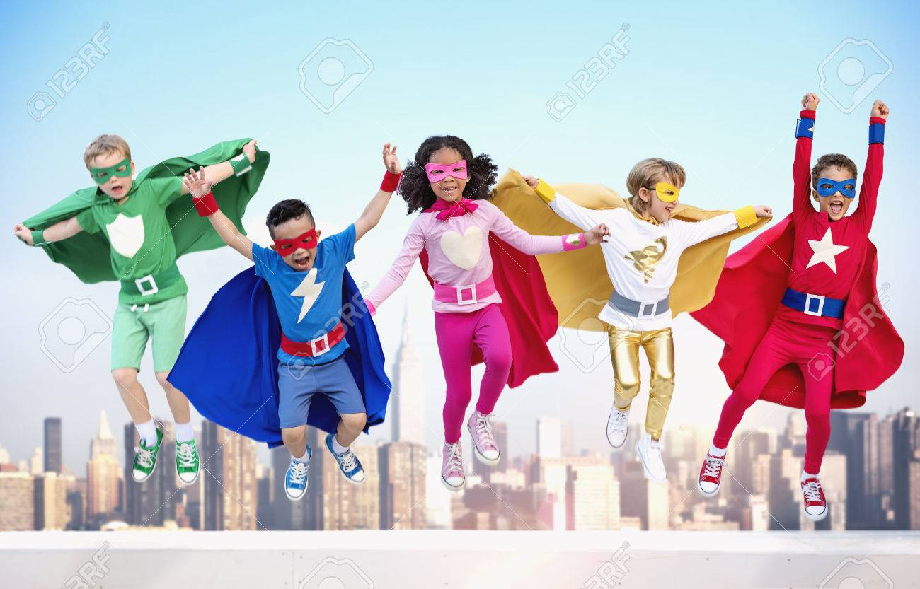 Superheroes Kids Friends Playing Togetherness Fun Concept - 58549159