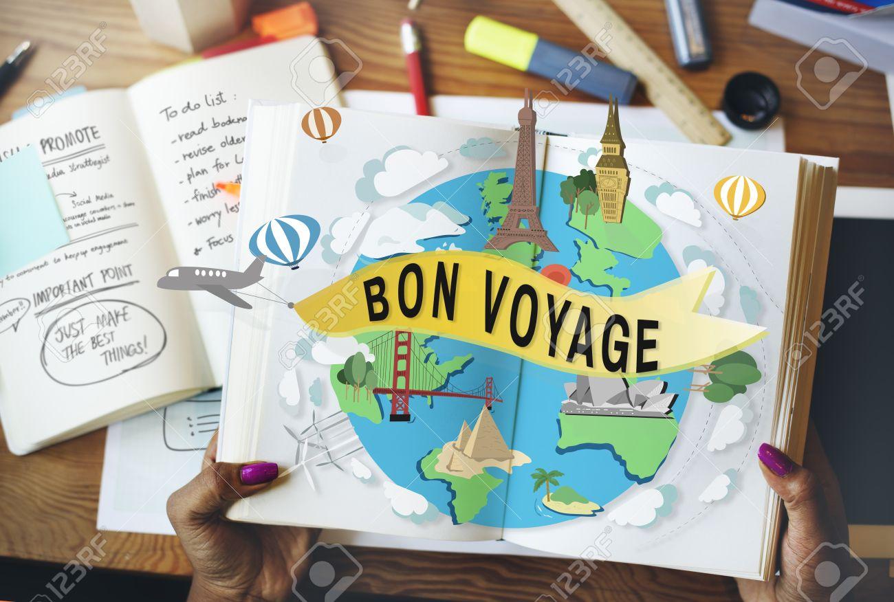Bon Voyage Farewell Greeting Journey Travel Trip Concept Stock Photo