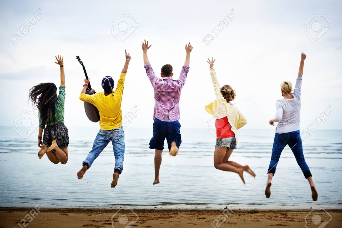Teenagers Friends Beach Party Happiness Concept Banque d'images - 58709809
