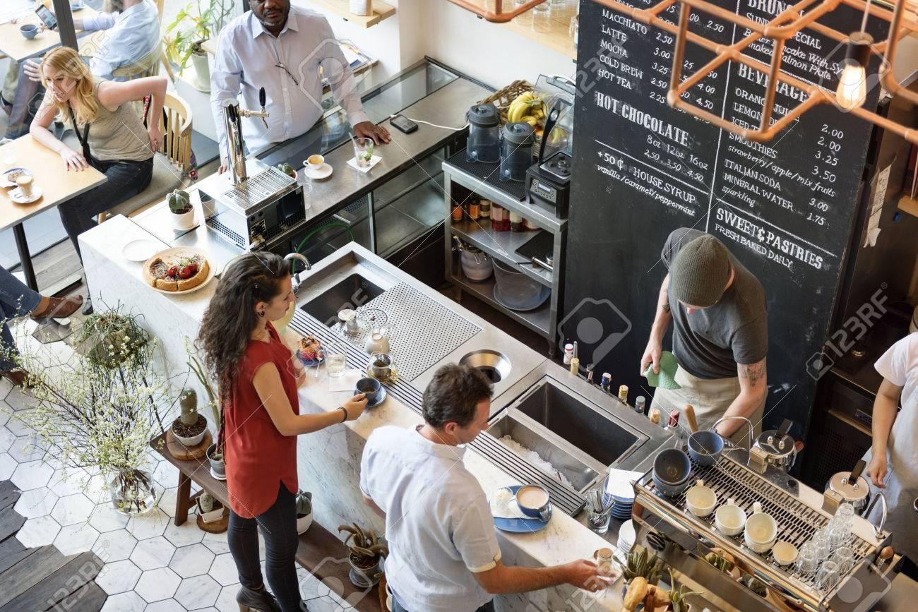 Café Comptoir de bar Cafe Restaurant Relaxation Concept Banque d'images - 58742274