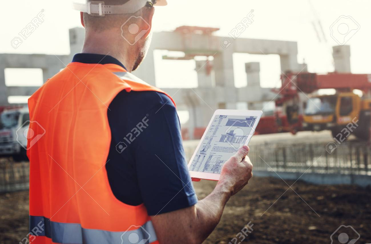 Construction Worker Planning Contractor Developer Concept Standard-Bild - 61640355