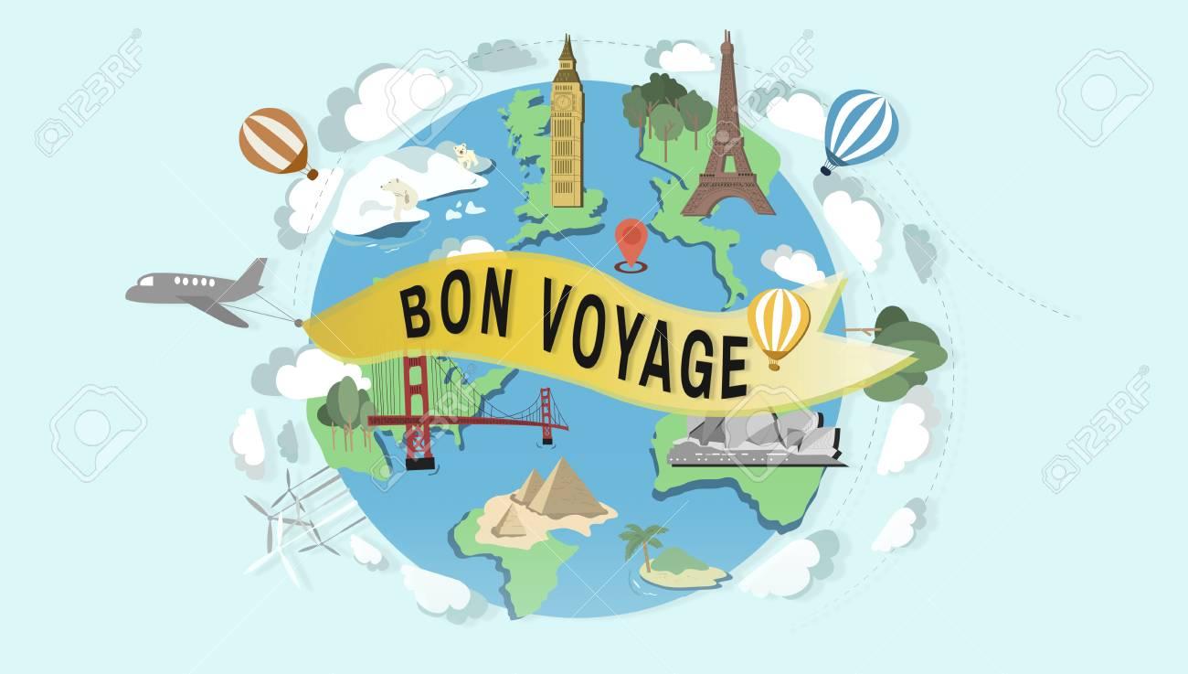 Bon Voyage Farewell Greeting Journey Travel Trip Concept Stock ...