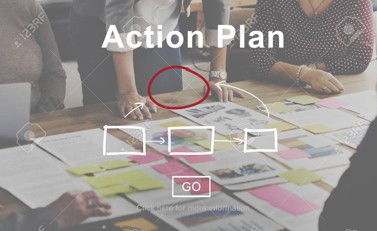 Planification de l'action Plan stratégique Vision Tactics Concept Objectif Banque d'images - 59475078