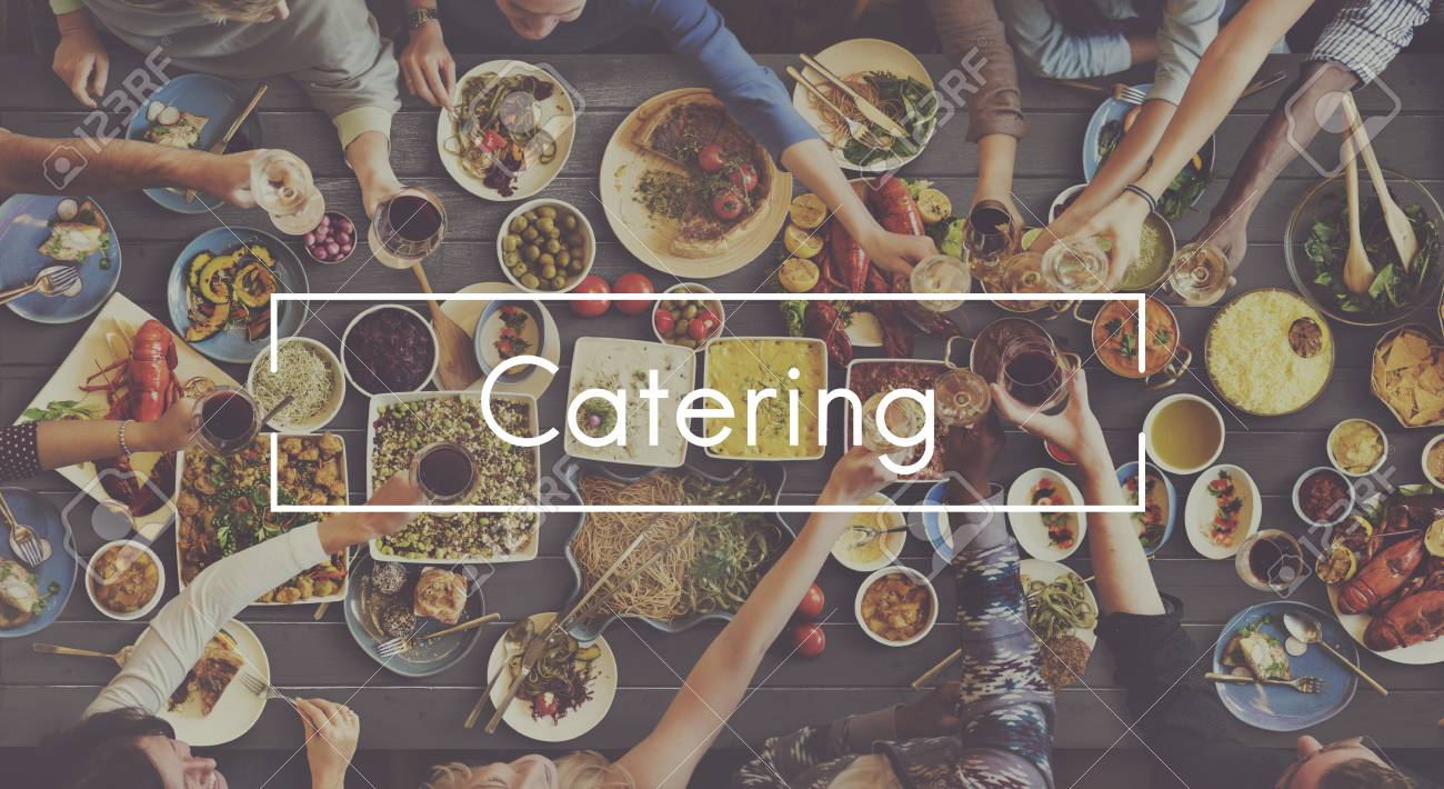 Good Food Good Mood Catering Buffet Foodie Restaurant Concept Stock