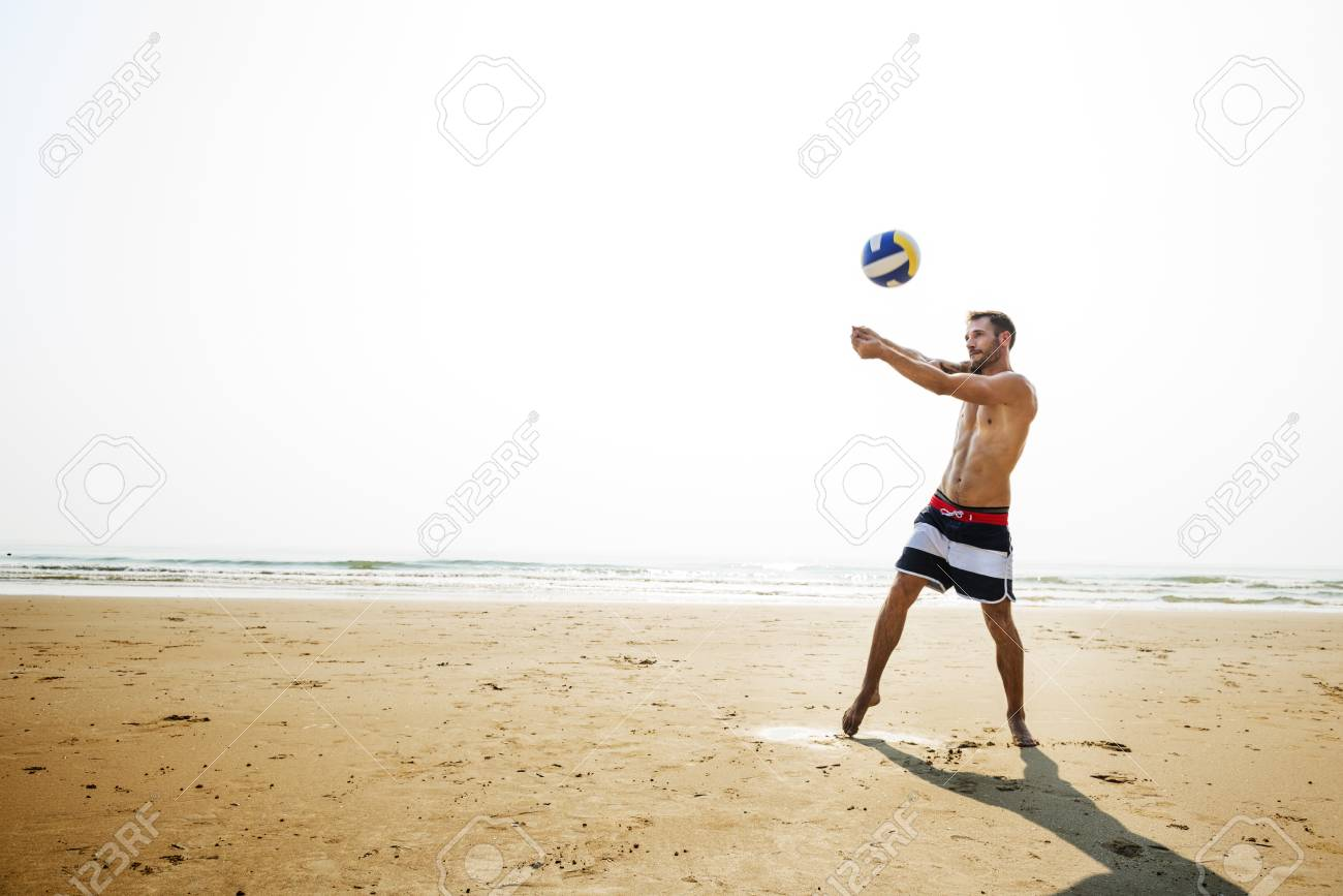 b2108309a6a Volleyball Hobby Leisure Activity Playing Beach Concept Stock Photo ...