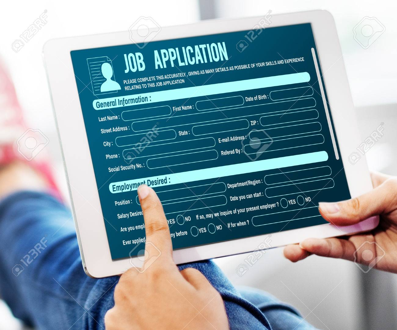 online web job application form concept stock photo picture and
