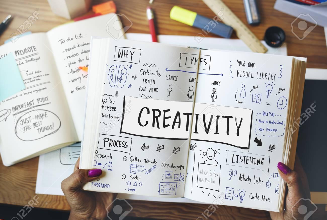 sketching visual notes design handwriting ideas concept stock photo