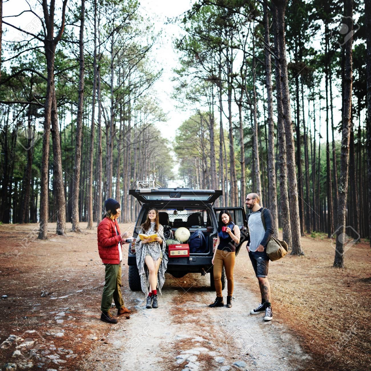 People Friendship Hangout Traveling Destination Camping Concept - 61348686