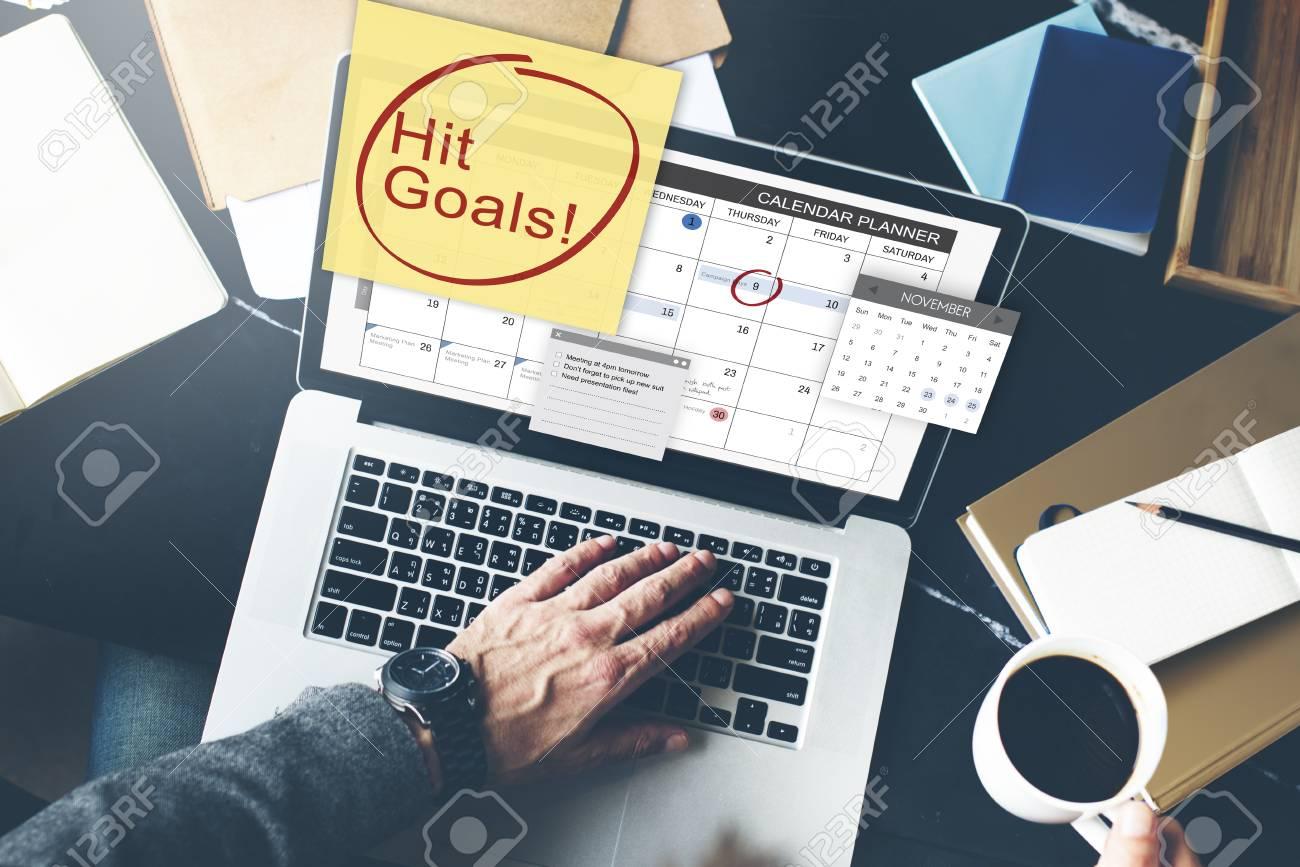 Calendar Planner Target : Hit goals mission motivation target schedule concept stock photo
