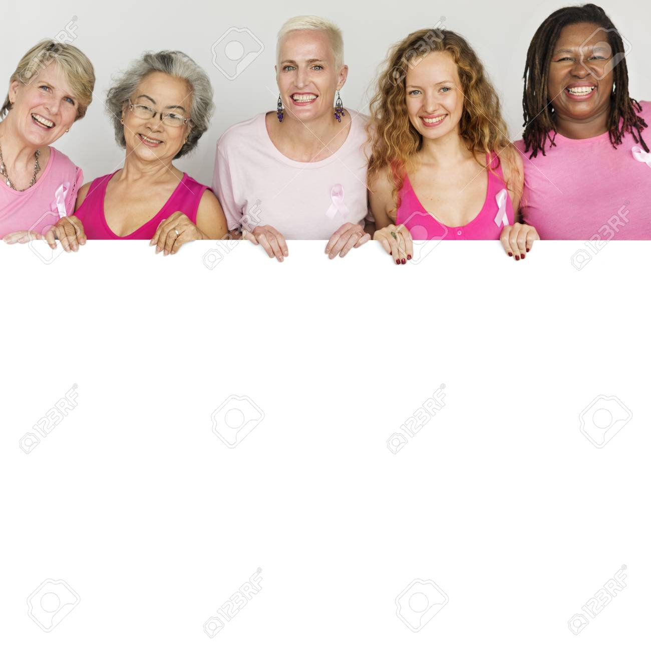 Pink Ribbon Breast Cancer Girls Feminine Copy Space Banner Concept Stock  Photo - 62717286